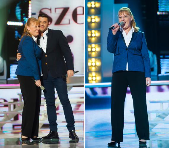 Cseke Katinka ezúttal kissé fiúsan öltözött fel, egyszerű fekete nadrágjához egy kék blézert választott.
