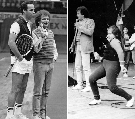 Dévényi Tibor két fotón a nyolcvanas évekből: az egyiken Taróczy Balázs teniszezővel készít éppen interjút, a másikon műsorvezetői feladatokat lát el a PECSA szabadtéri színpadán gyereknap alkalmából tartott élő kívánságműsorban.