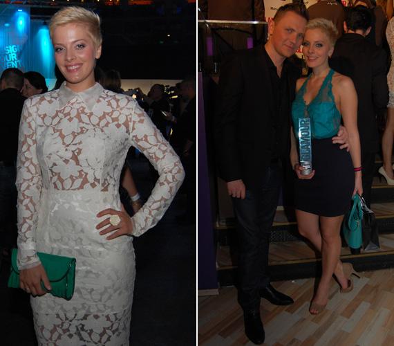 Tatár Csilla a TV2 műsorvezetője a VIVA Cometen ugyancsak egy hófehér, csipkézett ruhában jelent meg, míg a Glamour-gálára egy türkiz színű csipkefelsőt húzott.