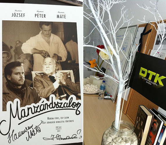 Haumnann Péter és fia, Máté kapta ezt a filmplakátot a DTK Show-tól. A képzeletbeli közös Haumann-film plakátját a stáb alkotta meg - a két Haumann őszinte meglepetésére.