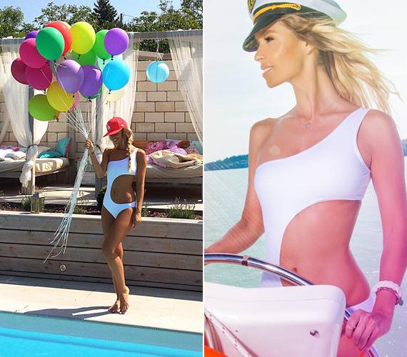 Ezt a sugarbirdös fürdőruhát nem csak a fotózás erejéig kapta fel a modell. Augusztus 5-én ünnepelte 32. születésnapját, és a medencés bulira is ezt az aszimmetrikus darabot választotta.