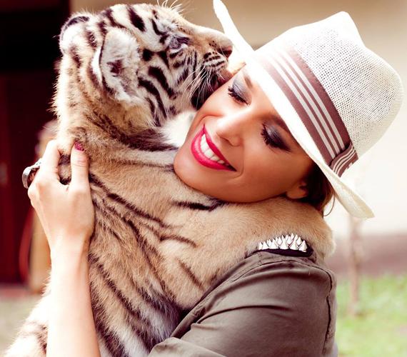 A tigris imádta a lányt, úgy bújt, mintha a mamája lenne.
