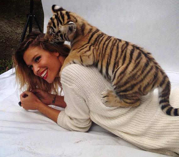A modell annyira megszerette a kis állatot, hogy mindent eltűrt neki, még a haját is cincálhatta.