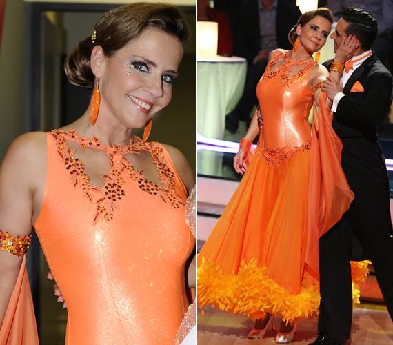 Bálint Antónia ruhájának felsőrésze ugyan hagyta kirajzolódni nőies idomait, de az első kieső ezúttal lemondott a mély dekoltázsról.