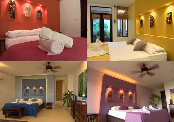 A párokat különböző színű hálószobák várják az Éden Hotelben.