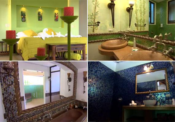 Minden hálóhoz pazar fürdőszoba is tartozik két mosdóval, zuhanyzóval, káddal.