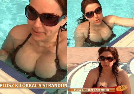 Erdélyi Mónika tőle szokatlanul szexi dekoltázst mutatott a TV2 délutáni műsorában. A parton törülközőt vagy strandruhát kap magára, így csak a medencében mutatja meg telt idomait.