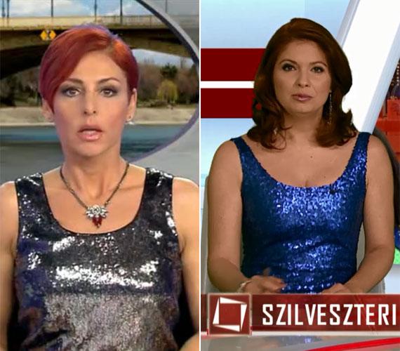Erős Antónia ezüstben, Andor Éva kékben csillogott az RTL Klub, illetve a TV2 szilveszteri híradójában.