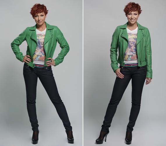 A 41 éves, kétgyerekes anyuka bátran húzhat fel alakját kihangsúlyozó, feszülős farmert, hozzá tarka pólót és vagány, zöld bőrkabátot.