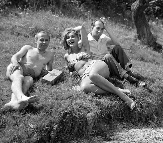 Pécsi Ildikó a '60-as években szexszimbólum volt. A felvétel 1962-ben, az Aranyember forgatási szünetében készült. 22 évesen játszhatta el Noémi szerepét, amely egy csapásra ismertté tette őt az országban, és férfiak ezrei álmodoztak róla eztán, későbbi férje, Szűcs Lajos is ebben a filmben szeretett bele.
