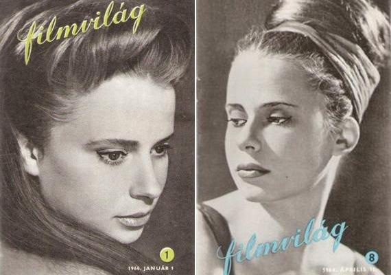 Így pózol a gyönyörű, 21 éves Esztergályos Cecília az 1964-es Filmvilág januári és április számának címlapján.