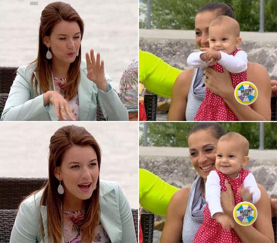 Rátonyi Krisztina, a Balatoni Nyár női műsorvezetője jól elszórakoztatta Fésűs Nelly kislányát - a kis Elza Zorka pedig őt és a nézőket.