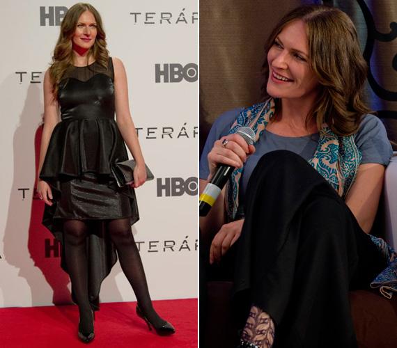 Szamosi Zsófia a sajtótájékoztatón még laza öltözetben fogadta az újságírókat, ám a díszbemutatóra ő is Kata Szegedi egy nőies ruháját húzta fel.