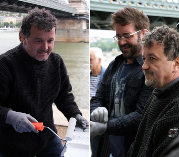 Scherer Péter színész, az Üvegtigris sztárja is festőhengert ragadott.
