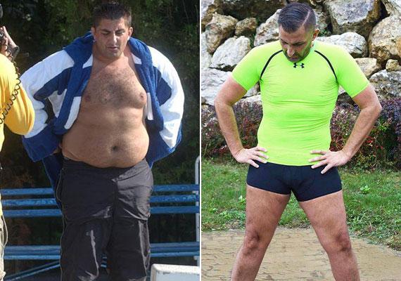 Egykor 138 kilót nyomott, a jobb oldalon viszont már csak 96-ot. Nem titkolja, hogy bizony zsírleszíváson is átesett, lötyögő hasát nem az edzőteremben faragta.