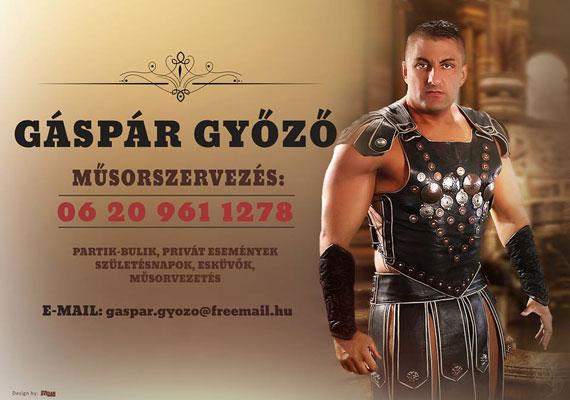 Nem tudjuk, mi járhatott Gáspár Győző fejében, amikor úgy döntött, a rendezvényeken való fellépését ezzel a kártyával, magát gladiátorként megjelenítve reklámozza.