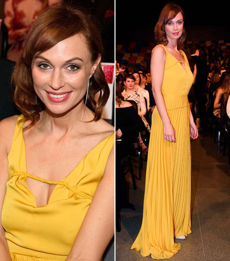 Gubík ÁgiA Barátok közt című sorozatban is szereplő sztár, Az év színésznője kategória egyik jelöltje egy sárga estélyiben ragyogta be a termet.