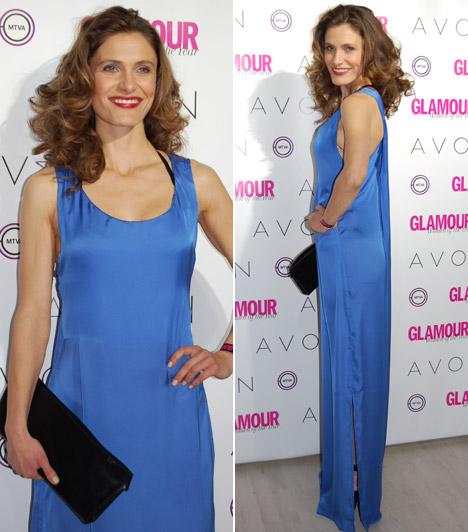 Bordán Lili  Az Amerikában élő színésznő egy egyenes vonalvezetésű, kék estélyiben mutatta meg karcsú alakját.