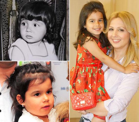 A kép bal oldalán látható Gombos Edina fekete-fehér gyerekkori fotója, alatta pedig Mirandáé. A hasonlóság valóban vitathatatlan.