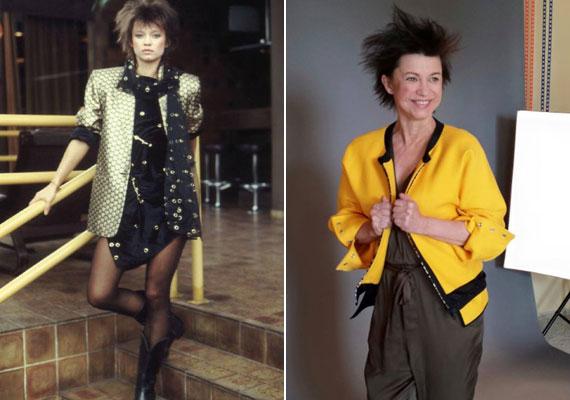 Görbe Nóra 1987-ben, illetve 2015 tavaszán egy fotózáson. A színésznő még ma is vonzódik az extravagáns ruhákhoz.