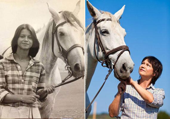 Görbe Nóra egykor és most - a ló is fehér, a képen szereplő nő bájos mosolya is változatlan maradt az évtizedek során.