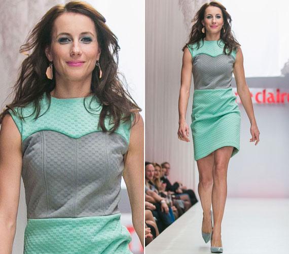 Balla Eszter színésznő Tomcsányi Dóri futurisztikus, érdekes anyagú tavaszi ruháját viselte.