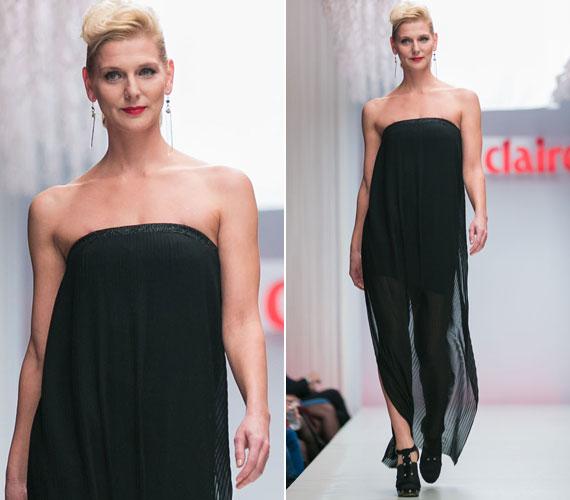 Rezes Judit színésznő Konsánszky Dóra izgalmas, kontrasztokra épülő fekete ruháját viselte, ami egyszerre volt bámulatosan nőies és - miniruha jellege miatt - rendkívül szexi is.