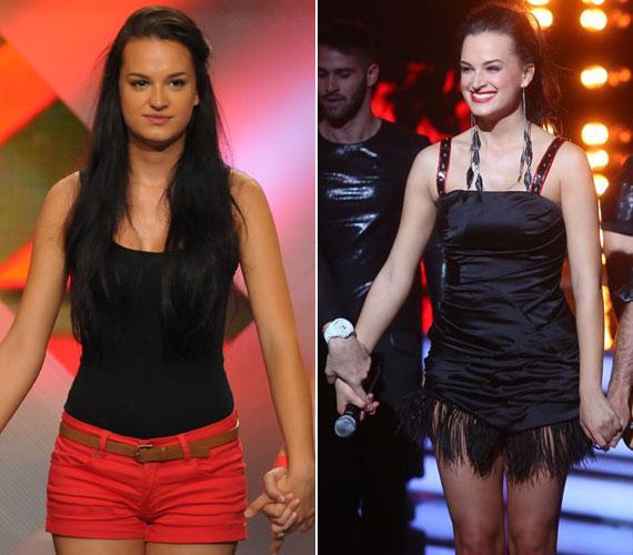 Gubik Petra a 2012-es X-Faktor válogatóján, valamint az elmúlt hétvégén a tehetségkutató színpadán a Sugarloaf zenekar új énekesnőjeként - dögös nő lett belőle.