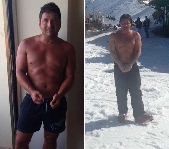 A műsorvezető április közepén, síelése alatt megmutatta felsőtestét - mely a jobboldali fotón látható - ez még a fogyókúrája előtt volt. A bal oldali kép a nyaralásán készült, augusztus 3-án tette fel a Facebookra, tehát itt már javában diétázott.