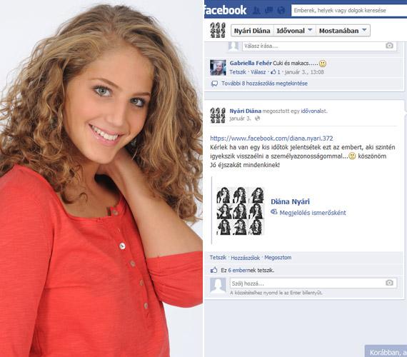 """""""Kérlek, ha van egy kis időtök, jelentsétek ezt az ember, aki szintén igyekszik visszaélni a személyazonosságommal!"""" - kért segítséget január elején a Facebook-oldalán Nyári Diána, a Barátok közt Hannája."""