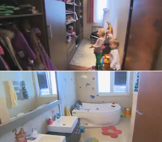 A két kisgyereknek saját gardróbja és külön fürdőszobája van.