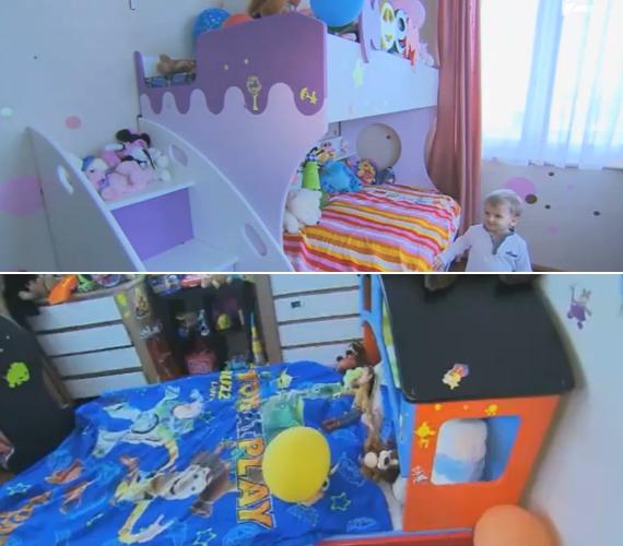 A pár kislányának, Noéminek háromszintes emeleteságya van, míg Dávid ágya úgy néz ki, mint Thomas, a mozdony.