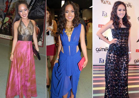 A gálákon is egyre nőiesebb és egyre többet mutató ruhákban hívta fel magára a figyelmet: képeink a 2012-es, a 2013-as és a 2014-es VIVA Cometen készültek.