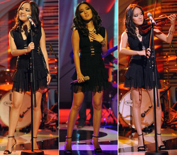 Az egzotikus szépség egyszerre volt vagány és nőies. A műsorban nemcsak énekelt, hegedűn is játszott.