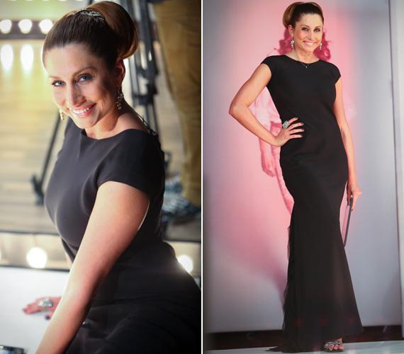 A Benes Anita által tervezett, egyszerű szabású, hosszú fekete Dalaarna darabot egy többnyire Jennifer Lopeznél látott, pazar konttyal dobta fel a 34 éves sztár.