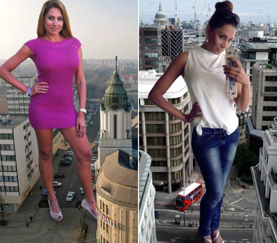 Imádja az extrém képeket, az egyik kedvence, amikor óriásnőként pózolt egy-egy város felett.