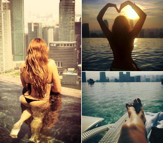 A modell posztolt magáról olyan felvételeket is, melyek a felhőkarcolók között valós nagyságában mutatják - rajongói nagy örömére.