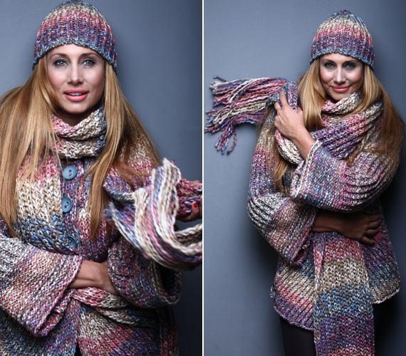 A hideg időre való tekintettel elmaradhatatlan a ruhához illő kötött sapka és sál.
