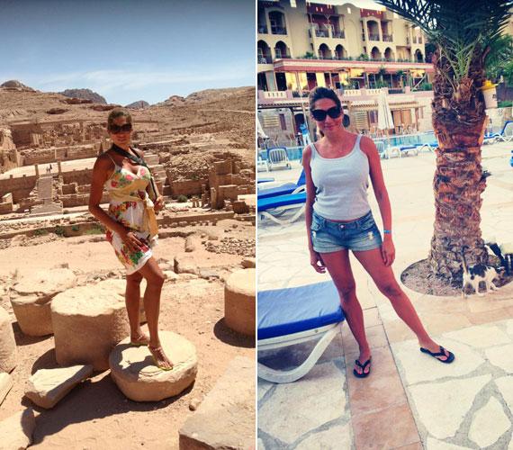 A nyaralásáról megosztott fotókon jól látható, többször járt külföldön: mögötte hol egy ókori színház romjai, hol egy pálmafákkal tarkított kisváros utcácskája tűnik fel.