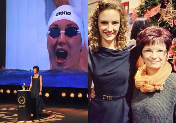 Hosszú Katinka helyett csütörtök este az édesanyja vette át a díját: az úszónőt negyedszerre választották az év sportolónőjének.