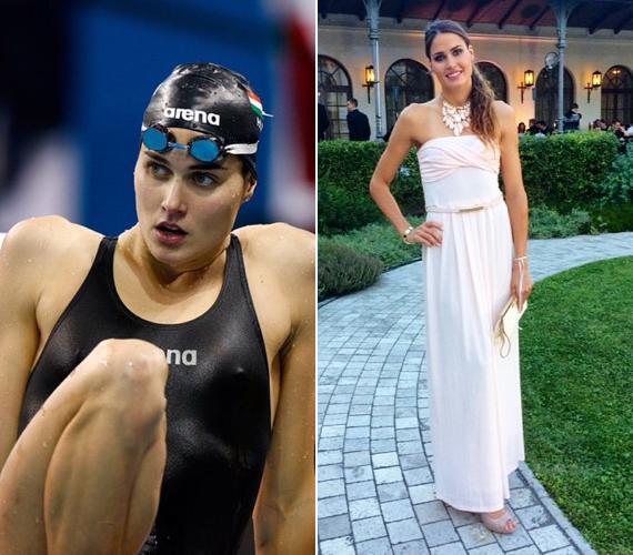 A szintén 26 éves, Európa-bajnok magyar úszóért, Jakabos Zsuzsannáért legalább annyian vannak odáig, mint Katinkáért, ami nem is csoda. Az úszónő tavaly ebben a gyönyörű, földig érő, romantikus ruhában ment a balatonfüredi Anna-bálba.