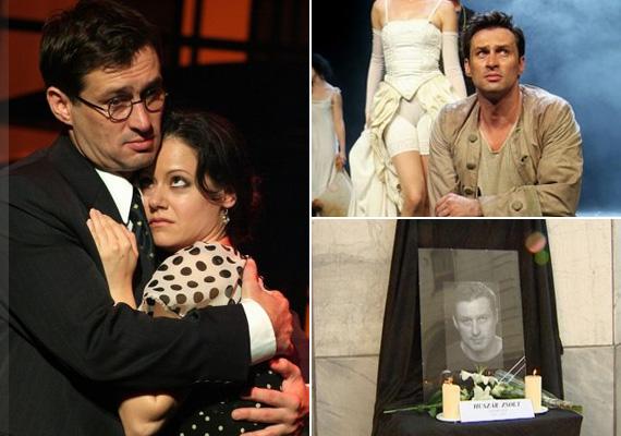 Az Új Színház előcsarnokában a tragikusan fiatalon elhunyt színész portréja előtt gyertya ég, a színházi közönség is leróhatja előtte kegyeletét.