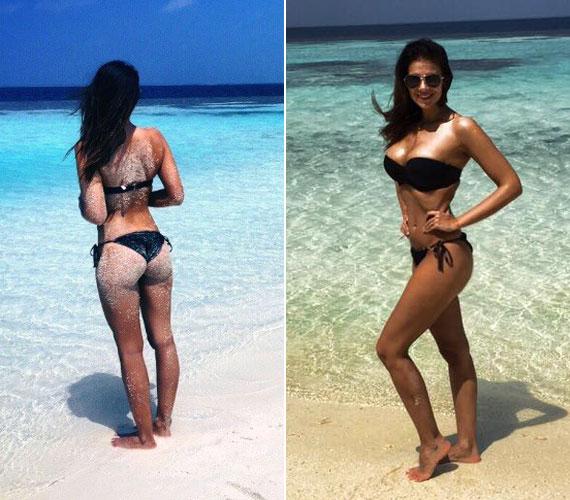 A 28 éves Sarka Kata az év elején a Maldív-szigeteken nyaralt családjával - büszke férje, Hajdú Péter a Facebookon posztolta ki felesége formás idomait.