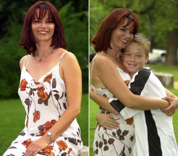 2001 augusztusában készült a két felvétel - a jobb oldalán az azóta már komoly fiatalemberré érett fiával, Bencével.