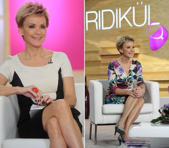 A Ridikül című műsorban mindig nőies és egyedi ruhákban látható - különösen lábait irigyelheti sok nő