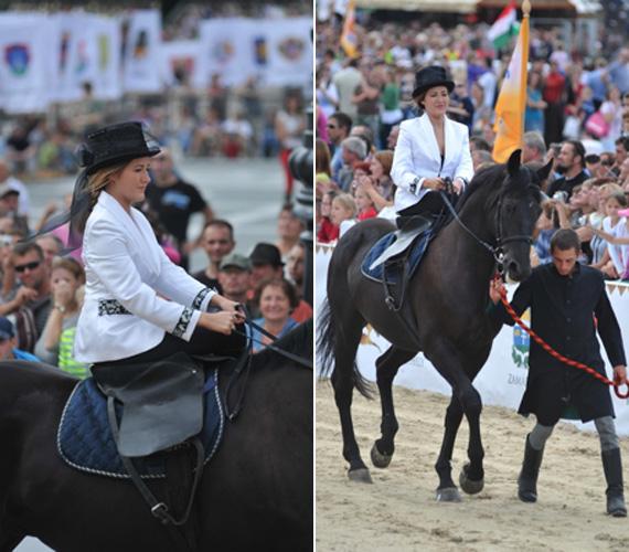 A pályára végül nem egyedül lovagolt be, kantáron vezették végig a lovát.