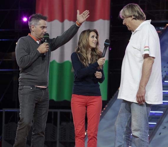 Harsányi Levente és Varga Edit először vezettek együtt műsort, és remekül összekovácsolódtak. A képen Csapó Gábor olimpiai bajnok, 272-szeres válogatott vízilabdázóval láthatóak.