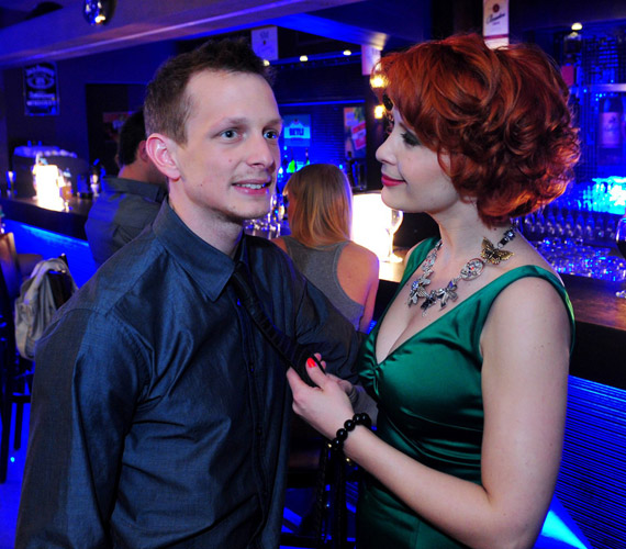 Orosz Barbara műsorvezető Seres Dani társaságában.