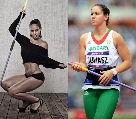 A 24 éves atléta, Juhász Vanda mintha sztriptízrúdnak használta volna a gerelyt.