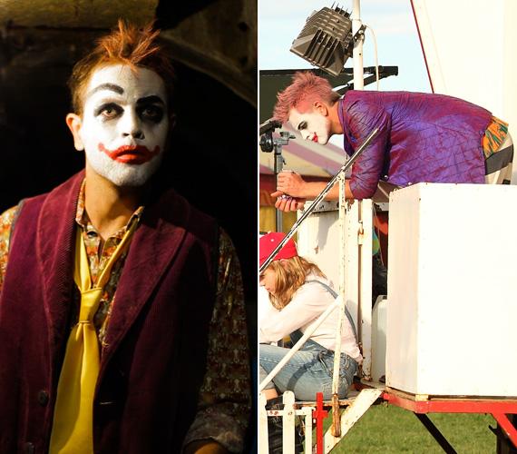 A 32 éves színész által megformált figura korántsem olyan ijesztő, mint az azóta elhunyt fiatal sztáré, egy Padlizsán nevű bohócot alakít.